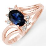 0.70 ctw Blue Sapphire & Diamond Ring 14K Rose