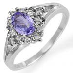 0.95 ctw Tanzanite & Diamond Ring 18K White