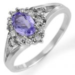 0.95 ctw Tanzanite & Diamond Ring 10K White
