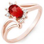 0.70 ctw Pink Tourmaline & Diamond Ring 14K Rose