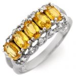 1.80 ctw Yellow Sapphire & Diamond Ring 10K White