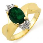 1.29 ctw Emerald & Diamond Ring 10K Yellow