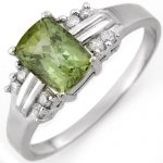 1.41 ctw Green Tourmaline & Diamond Ring 10K White