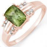 1.41 ctw Green Tourmaline & Diamond Ring 18K Rose