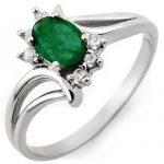 0.50 ctw Emerald & Diamond Ring 10K White