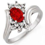 1.0 ctw Red Sapphire & Diamond Ring 10K White