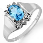 1.23 ctw Blue Topaz & Diamond Ring 10K White