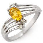 0.80 ctw Yellow Sapphire & Diamond Ring 18K White