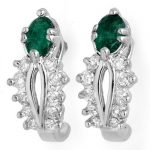 0.85 ctw Emerald & Diamond Earrings 14K White