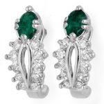 0.85 ctw Emerald & Diamond Earrings 10K White