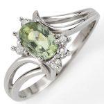 0.70 ctw Green Sapphire & Diamond Ring 10K White