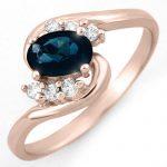 0.70 ctw Blue Sapphire & Diamond Ring 14K Rose