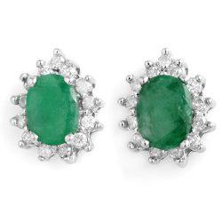 3.85 ctw Emerald & Diamond Earrings 14K White