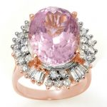 15.75 ctw Kunzite & Diamond Ring 14K Rose