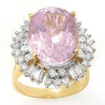 15.75 ctw Kunzite & Diamond Ring 14K Yellow