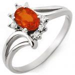 0.70 ctw Orange Sapphire & Diamond Ring 10K White
