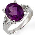 4.20 ctw Amethyst & Diamond Ring 10K White