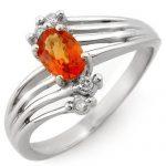 0.80 ctw Orange Sapphire & Diamond Ring 10K White