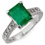 2.75 ctw Emerald & Diamond Antique Ring 18K White