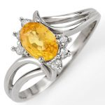 0.70 ctw Yellow Sapphire & Diamond Ring 18K White