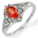 0.95 ctw Orange Sapphire & Diamond Ring 10K White