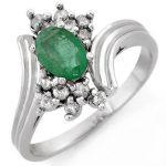 0.80 ctw Emerald & Diamond Ring 18K White