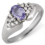 0.90 ctw Tanzanite & Diamond Ring 14K White