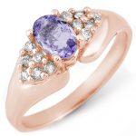 0.90 ctw Tanzanite & Diamond Ring 14K Rose