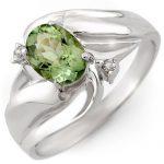 1.27 ctw Green Tourmaline & Diamond Ring 10K White