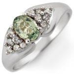 0.90 ctw Green Sapphire & Diamond Ring 10K White