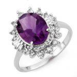 3.45 ctw Amethyst & Diamond Ring 18K White