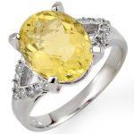 5.20 ctw Lemon Topaz & Diamond Ring 10K White