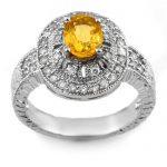 2.08 ctw Yellow Sapphire & Diamond Ring 14K White