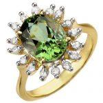 3.40 ctw Green Tourmaline & Diamond Ring 10K Yellow