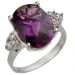 5.10 ctw Amethyst & Diamond Ring 10K White