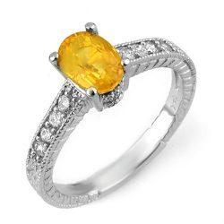 2.0 ctw Yellow Sapphire & Diamond Ring 14K White