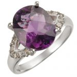 3.70 ctw Amethyst & Diamond Ring 14K White