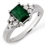 1.36 ctw Emerald & Diamond Ring 10K White