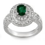 1.58 ctw Emerald & Diamond Ring 14K White