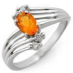 0.60 ctw Opal & Diamond Ring 10K White