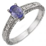 0.66 ctw Tanzanite & Diamond Ring 18K White