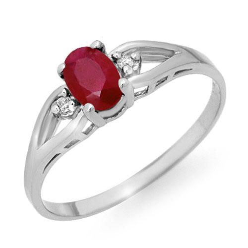0.77 ctw Ruby & Diamond Ring 18K White