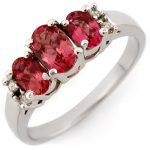 0.92 ctw Pink Tourmaline & Diamond Ring 18K White