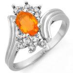 0.65 ctw Opal & Diamond Ring 10K White