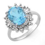 3.95 ctw Blue Topaz & Diamond Ring 18K White