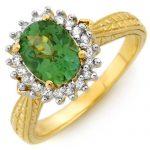 2.75 ctw Green Tourmaline & Diamond Ring 10K Yellow