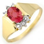 1.04 ctw Pink Tourmaline & Diamond Ring 14K Yellow