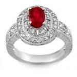 1.93 ctw Ruby & Diamond Ring 14K White