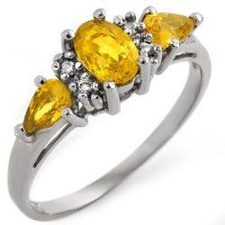 1.33 ctw Yellow Sapphire & Diamond Ring 10K White