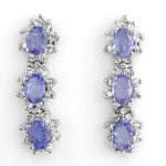 4.38 ctw Tanzanite & Diamond Earrings 14K White